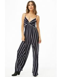 d8c016f3826e Forever 21 - Striped Twist-front Cami Jumpsuit - Lyst