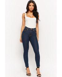 521fe5089e2e8a Forever 21 - High-waist Skinny Jeans , Dark Denim - Lyst