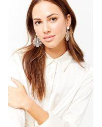FOREVER21 - Faux Pearl & Rhinestone Drop Earrings - Lyst