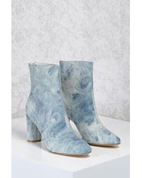 Forever 21 - Acid Wash Denim Ankle Boots - Lyst