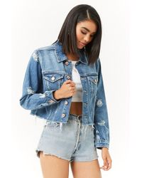Forever 21 - Distressed Denim Jacket - Lyst
