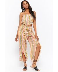 Forever 21 - Crinkled Striped Cropped Tube Top & Tie-front Split Leg Trousers Set - Lyst