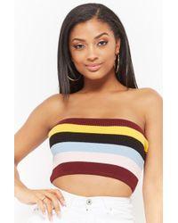 790791850c Lyst - Forever 21 Women s Smocked Striped Tube Top
