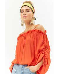 Forever 21 - Ruched Drawstring Open-shoulder Top - Lyst