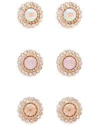 Forever 21 - Rhinestone & Faux Gem Stud Earrings Set - Lyst