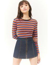 Forever 21 - Zip-front Denim Mini Skirt - Lyst