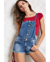 Forever 21 - Button-front Overall Shorts - Lyst