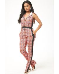 Forever 21 - Multicolor Glen Plaid Hooded Jumpsuit - Lyst