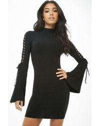 Forever 21 - Ribbed Lace-up Mini Dress - Lyst