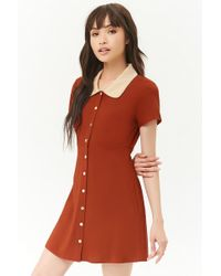 Forever 21 - Button-front Contrast Dress - Lyst