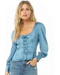 Forever 21 - I. Madeline Lace-up Satin Top - Lyst