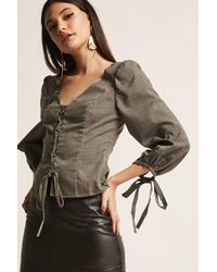 Forever 21 - Glen Plaid Lace-up Top - Lyst