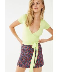 9189ab0d490969 Forever 21 - Surplice Self-tie Top , Lime - Lyst