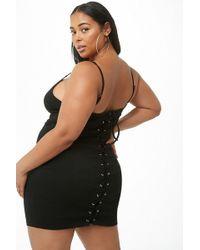 571fcc948eba Forever 21 Plus Size Crochet Lace-trim Halter Mini Dress in Black - Lyst