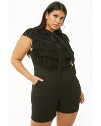 Forever 21 - Women's Plus Size Ruffle Pussycat Bow Playsuit - Lyst