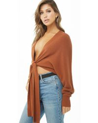 Forever 21 - Tie-front Batwing Jumper - Lyst