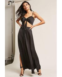 Forever 21 - Satin Crop Top & Vented Pants Set - Lyst
