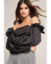 0b1362ba2fe Forever 21 Ruffled Open-shoulder Crop Top in Black - Lyst