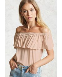 Forever 21 - Off-the-shoulder Flounce Top - Lyst