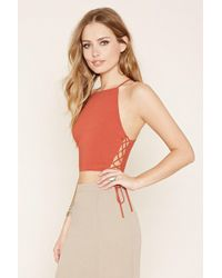 Forever 21 - Lace-up Cropped Cami - Lyst