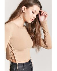 Forever 21 - Lace-up Crop Top - Lyst