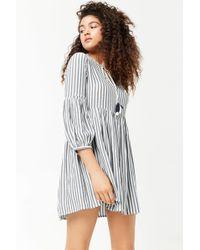 Forever 21 - Striped Split Neck Dress - Lyst