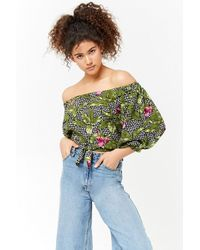 ac2055f74fd Forever 21 - Women's Floral Off-the-shoulder Crop Top - Lyst