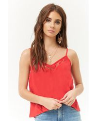 Forever 21 - Embroidered Lace-trim Swing Cami - Lyst
