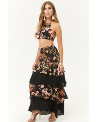5388e612a1c0 Forever 21 - Crinkled Floral Cropped Halter Top & Tiered Skirt Set - Lyst
