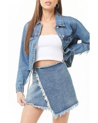 5246e8a616cf Forever 21 Frayed Asymmetrical Denim Skirt in Blue - Lyst