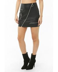 Forever 21 - Faux Leather Moto Skirt - Lyst