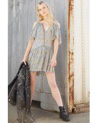 Forever 21 - Open-shoulder Floral Dress , Blue/green - Lyst