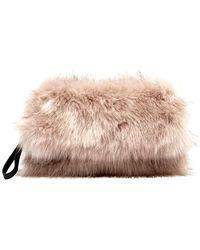 Boohoo Skye Mongolian Faux Fur Clutch Bag in Black - Lyst 41eeedf6bb