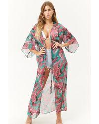 Forever 21 - Sheer Multicolour Palm Leaf Kimono - Lyst