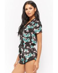 8d66b9f0906c Lyst - Forever 21 Watermelon Button-front Pajama Romper in Pink