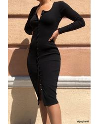 Missguided - Button-front Dress At , Black - Lyst