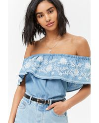 Forever 21 - Women's Embroidered Floral Flounce Top - Lyst