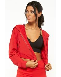 a70939fdfcf Forever 21 - Women s Active Cropped Zip-up Hoodie - Lyst