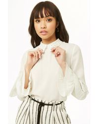 e2d2211dc5aba0 Forever 21 - Chiffon Pleated-trim Top - Lyst