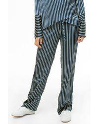 8cf0b690da2e69 Forever 21 - Striped Satin Wide-leg Pants , Navy - Lyst