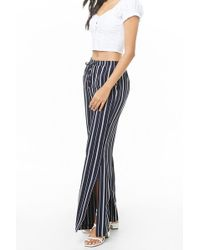 Forever 21 - Drawstring Striped Palazzo Trousers , Navy/white - Lyst
