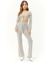Forever 21 - Striped Off-the-shoulder Crop Top & Pants Set - Lyst