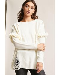 Forever 21 - Distressed Ruffle-sleeve Jumper - Lyst