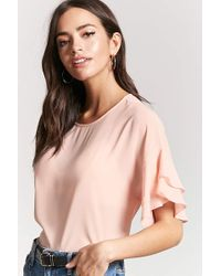 Forever 21 - Ruffle-sleeve Chiffon Top - Lyst