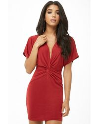 Forever 21 - Twist-front Plunging Mini Dress - Lyst