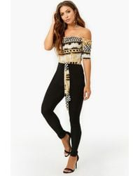 Forever 21 - Off-the-shoulder Chequered Chain Jumpsuit - Lyst