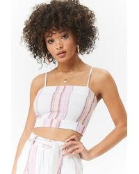 Forever 21 - Striped Linen-blend Crop Top - Lyst