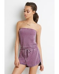 c6ca6c7d8e57 Lyst - Forever 21 Marled Knit Drawstring Romper in Gray