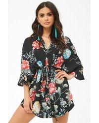 Forever 21 - Floral Print Drawstring Kimono - Lyst