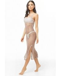 Forever 21 - Sheer Metallic Swim Cover-up Dress , Taupe/silver - Lyst